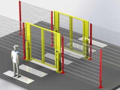 Voorbeeld veiligheidspoort met pad binnen hekwerk