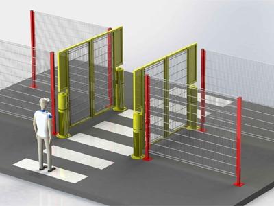 Voorbeeld veiligheidspoort met pad buiten hekwerk